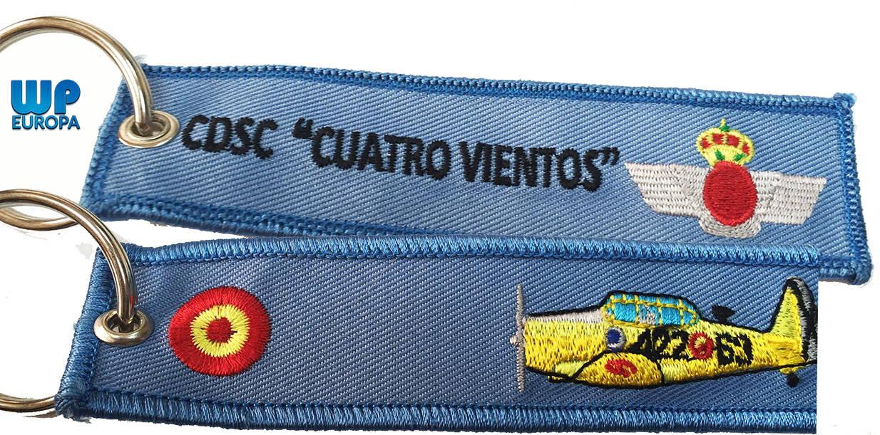 Llavero bordado cuatro vientos azul for Bordados personalizados madrid